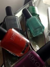 Mes petites nouveautés Kiko : Prune 316, Orange 357, Gris 328, Bleu turquoise389, Vert 296